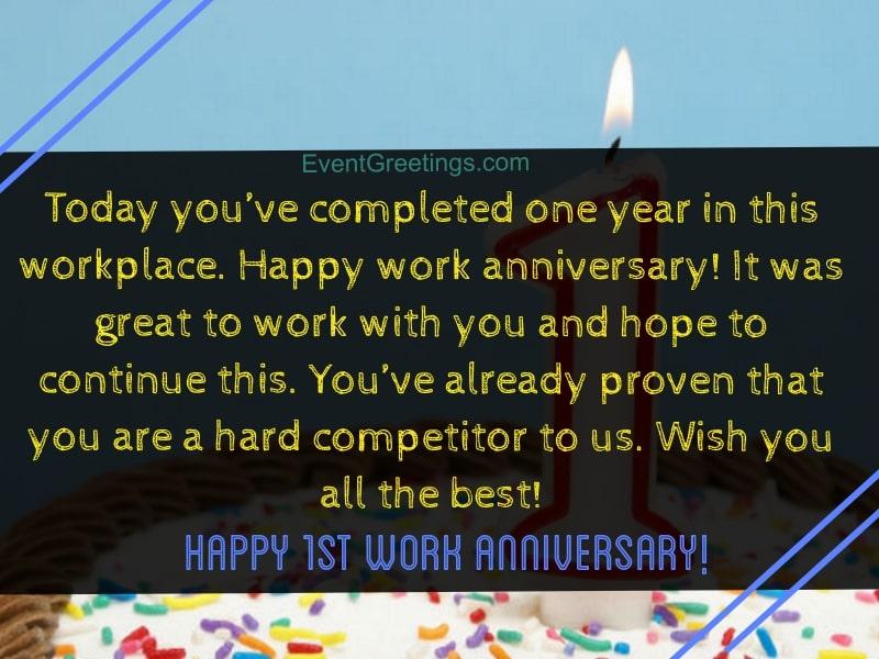 Congratulations On Work Anniversary Message